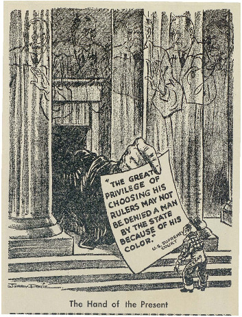 """The Hand of the Present"" political cartoon from the Philadelphia Record"