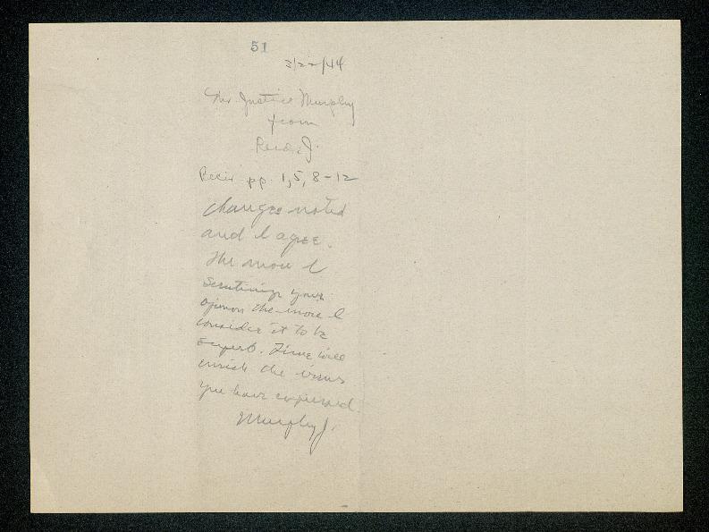 Inscription from Frank Murphy to Stanley Reed on draft <em>Allwright</em> opinion<em><br /></em>