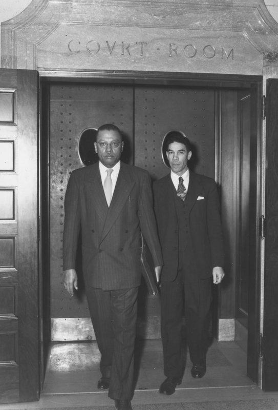 Lyman T. Johnson (right) and Kentucky State University President R. B. Atwood