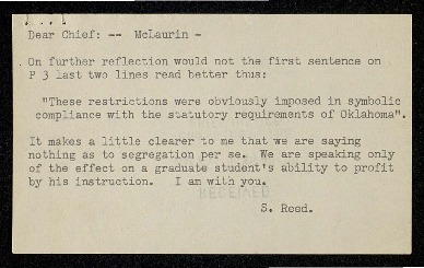 Note from Justice Reed on draft <em>McLaurin</em> opinion