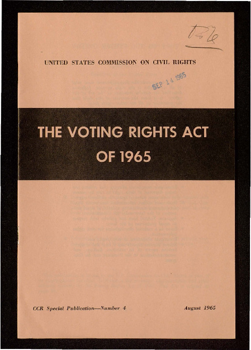 Pamphlet on the Voting Rights Act of 1965 from the United States Commission on Civil Rights