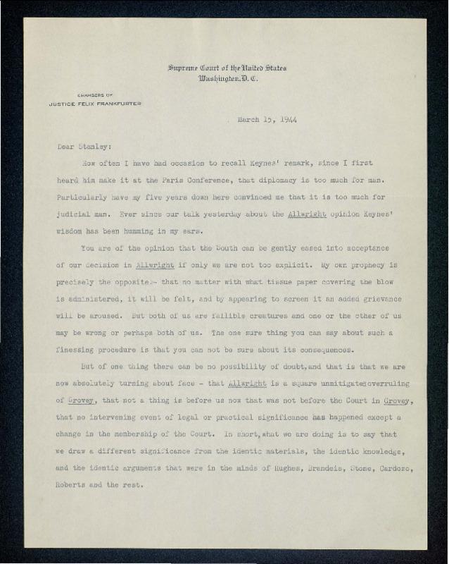 Letter from Felix Frankfurter to Stanley Reed regarding <em>Smith v. Allwright</em> (1944)