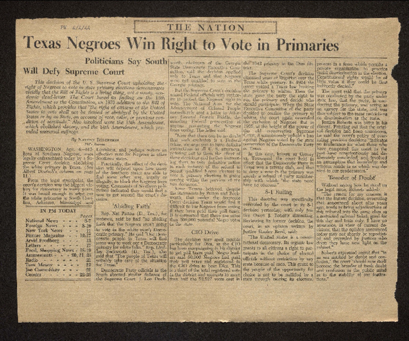 """""""Texas Negroes Win Right to Vote in Primaries,"""" PM Daily newspaper"""